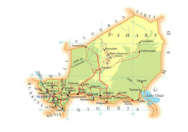 Physical map of Niger with cities, roads and airports.