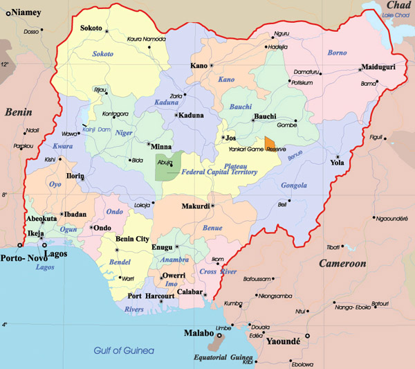 Detailed administrative map of Nigeria.