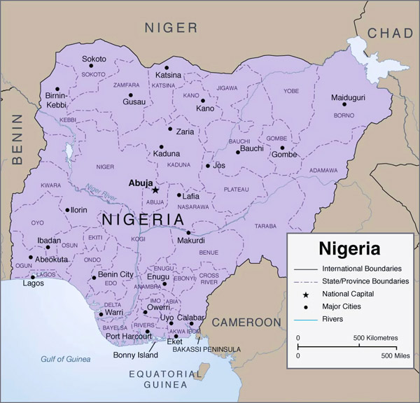 Detailed administrative map of Nigeria with cities.