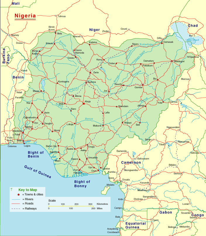 Detailed highways map of Nigeria. Nigeria detailed highways map.