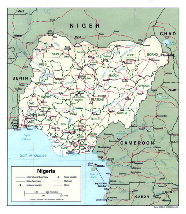 Detailed political and administrative map of Nigeria.