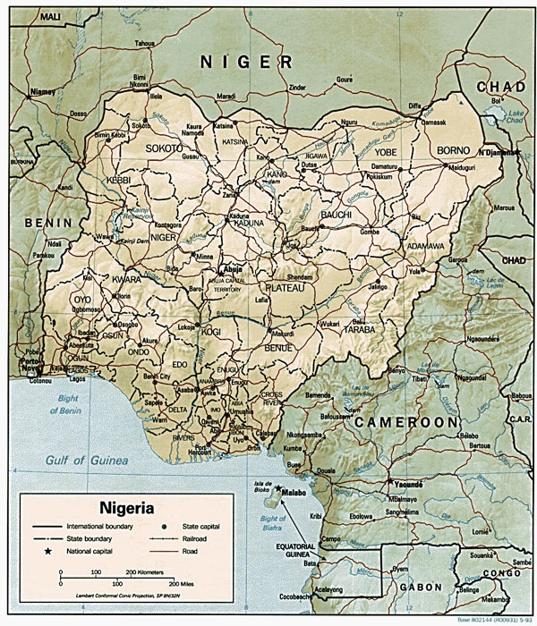 Detailed relief and political map of Nigeria.