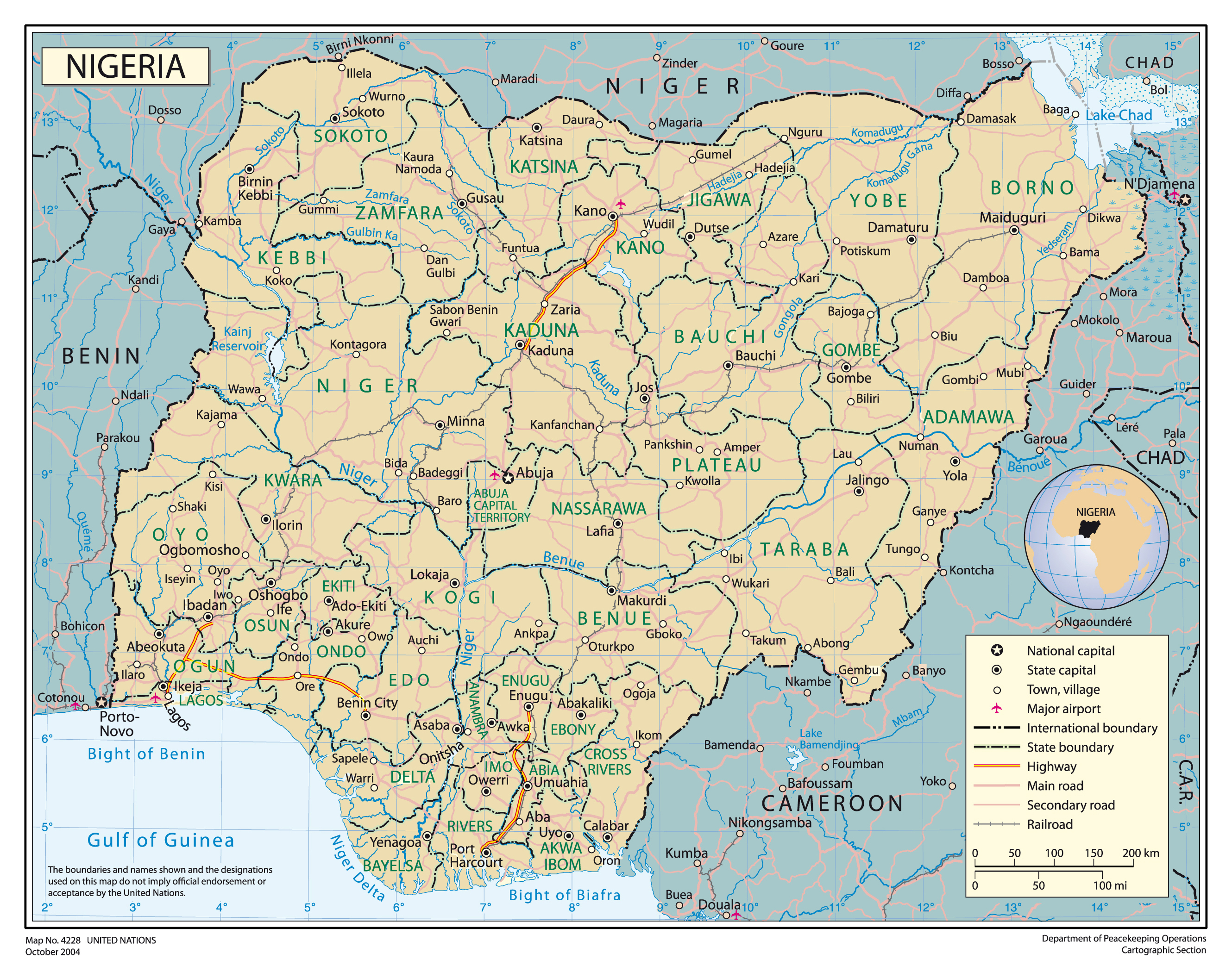Full political map of Nigeria Nigeria full political map Vidiani