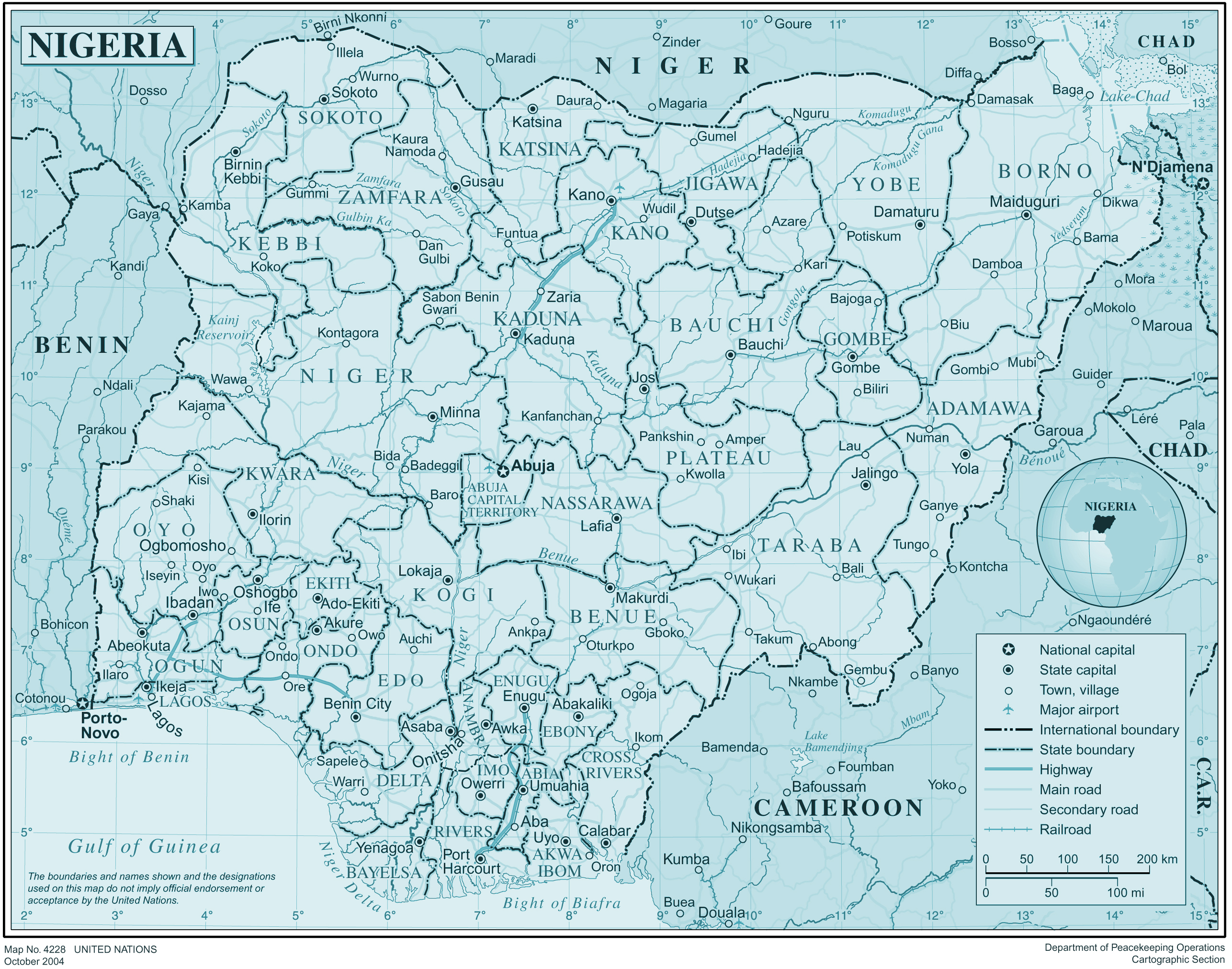 High resolution detailed administrative and political map of Nigeria