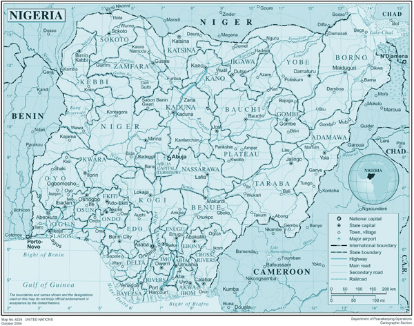 High resolution detailed administrative and political map of Nigeria with all cities, roads and airports.
