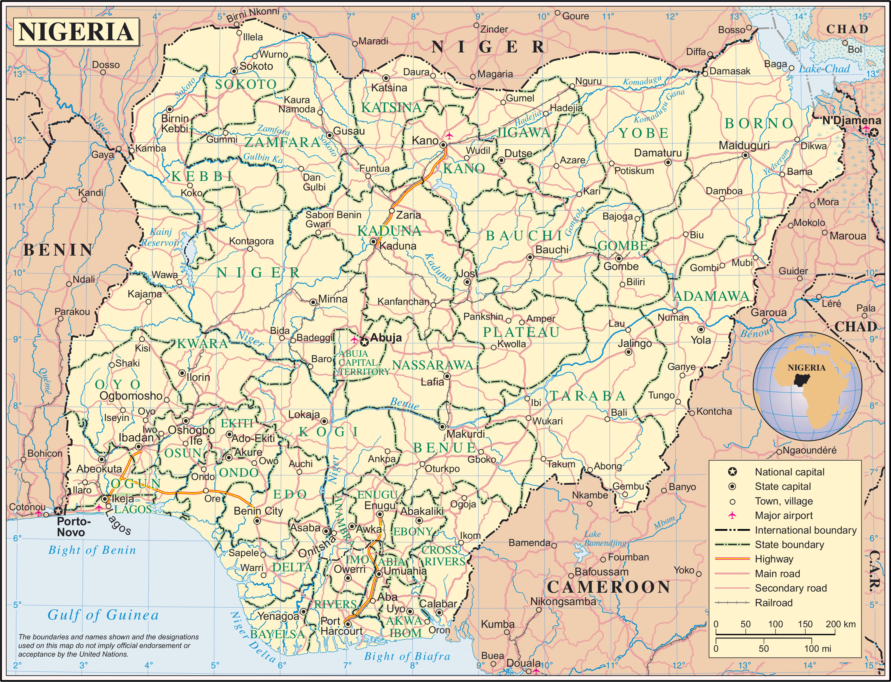 Large detailed political and administrative map of Nigeria with all
