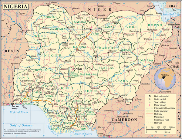 Large detailed political and administrative map of Nigeria with all roads, cities and airports.