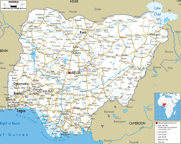 Large detailed road map of Nigeria with all cities, roads and airports.