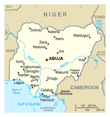 Map of Nigeria. Nigeria map.