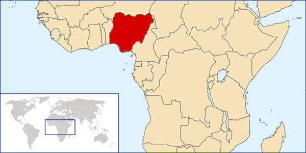 Nigeria detailed location map. Detailed location map of Nigeria.