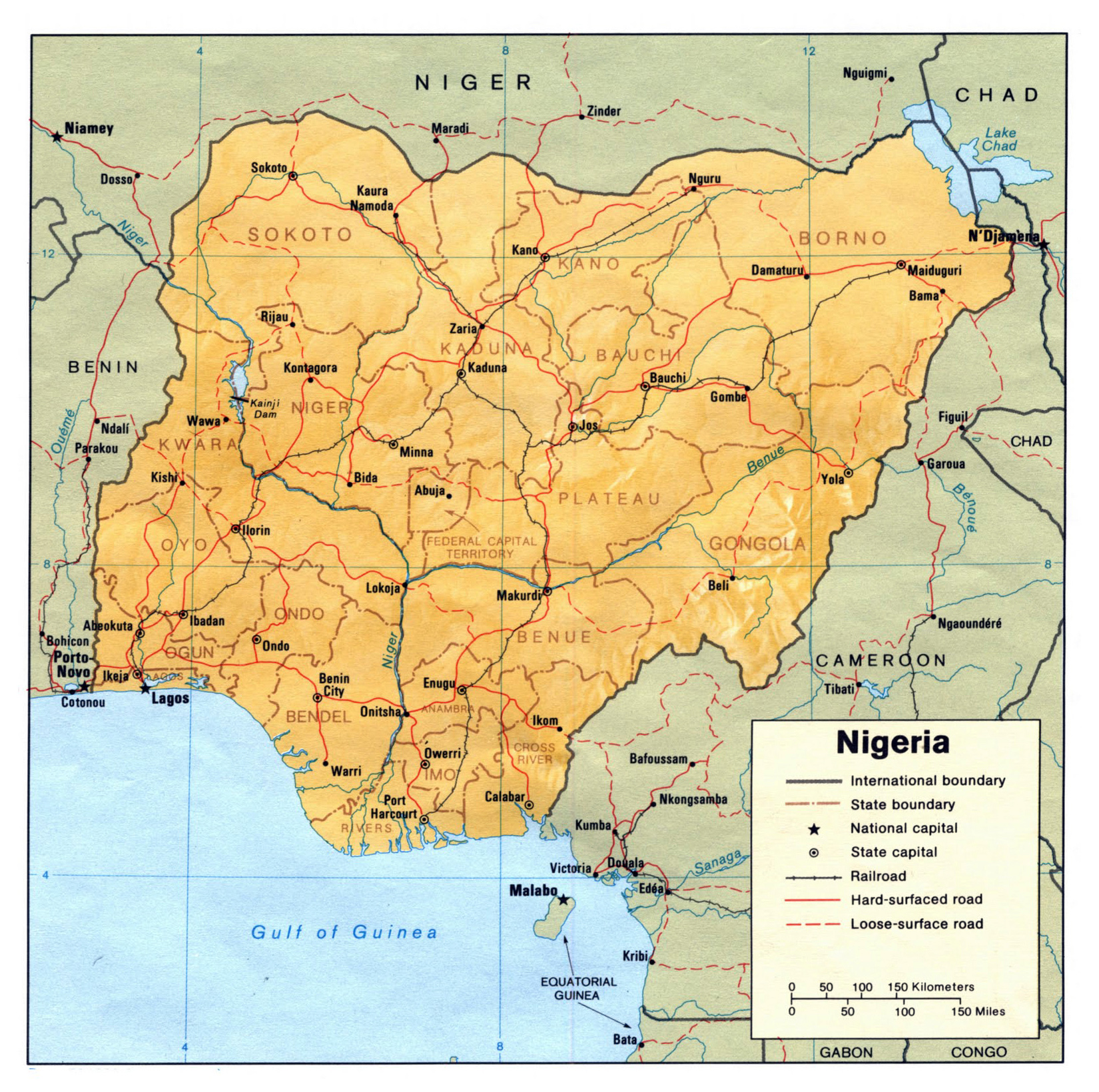 Nigeria political and relief map Political and relief map of