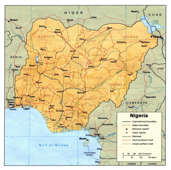 Nigeria political and relief map. Political and relief map of Nigeria.