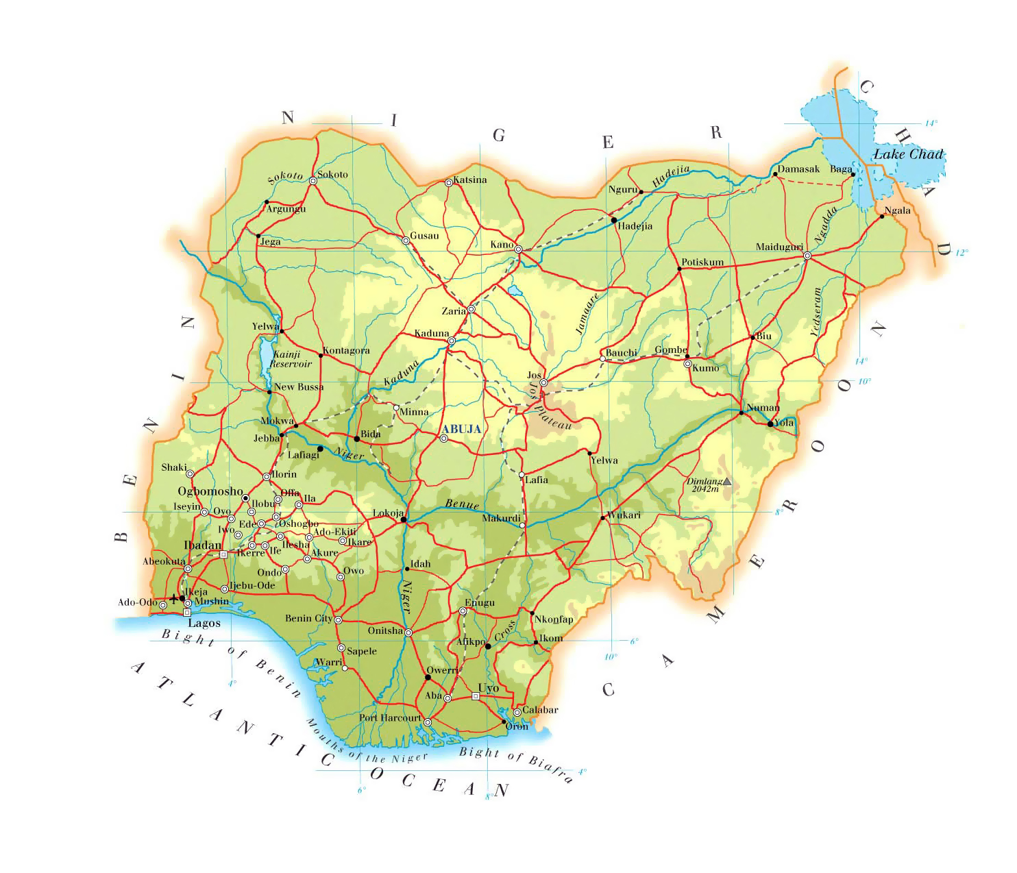 Physical and road map of Nigeria Nigeria physical and road map