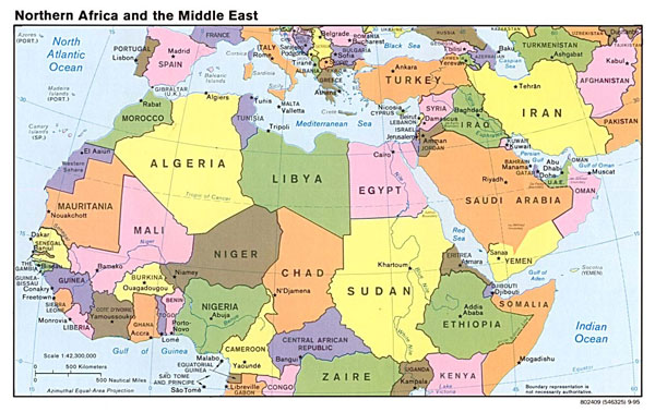 Detailed political map of North Africa and the Middle East with capitals - 1995.