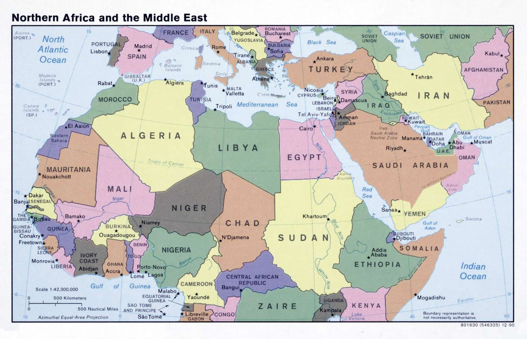 Large political map of North Africa and the Middle East – 1990 ...