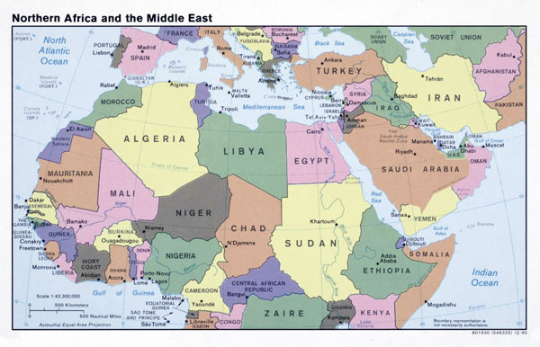 Large political map of North Africa and the Middle East - 1990.