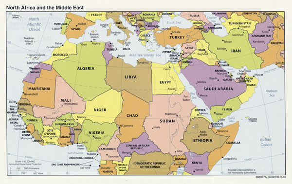 Large political map of North Africa and the Middle East with capitals - 2009.