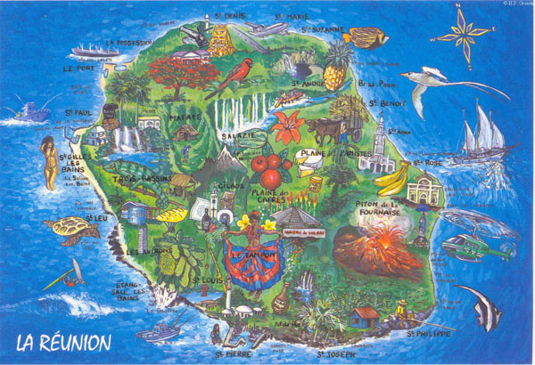 Detailed tourist map of Reunion. Reunion detailed tourist map.