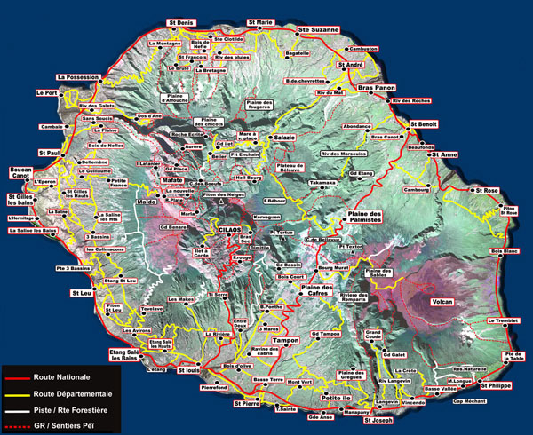 Large detailed tourist map of Reunion. Reunion large detailed tourist map.