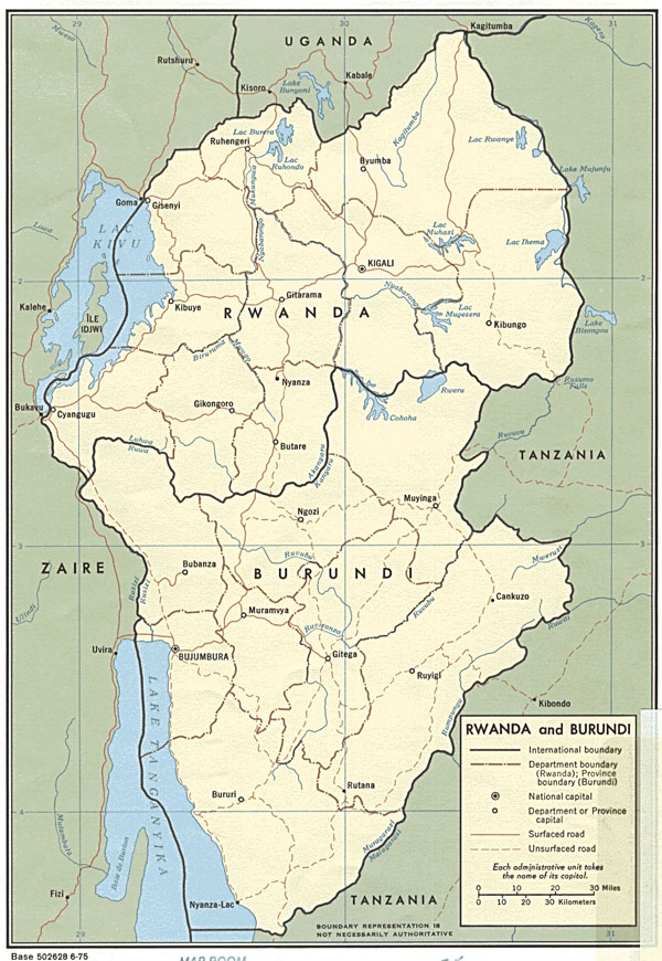 Detailed political and administrative map of Rwanda and Burundi.
