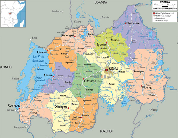 Detailed political and administrativemap of Rwanda with all cities, roads and airports.