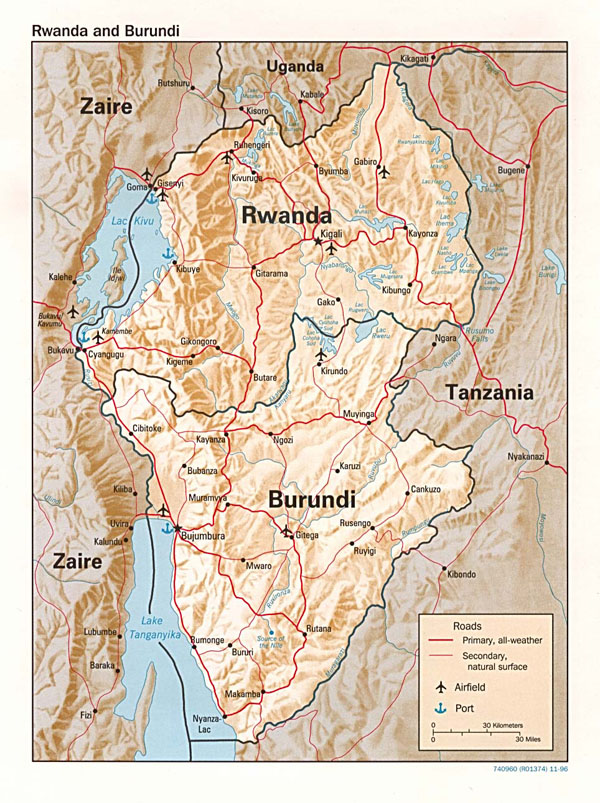 Detailed relief and political map of Rwanda and Burundi.