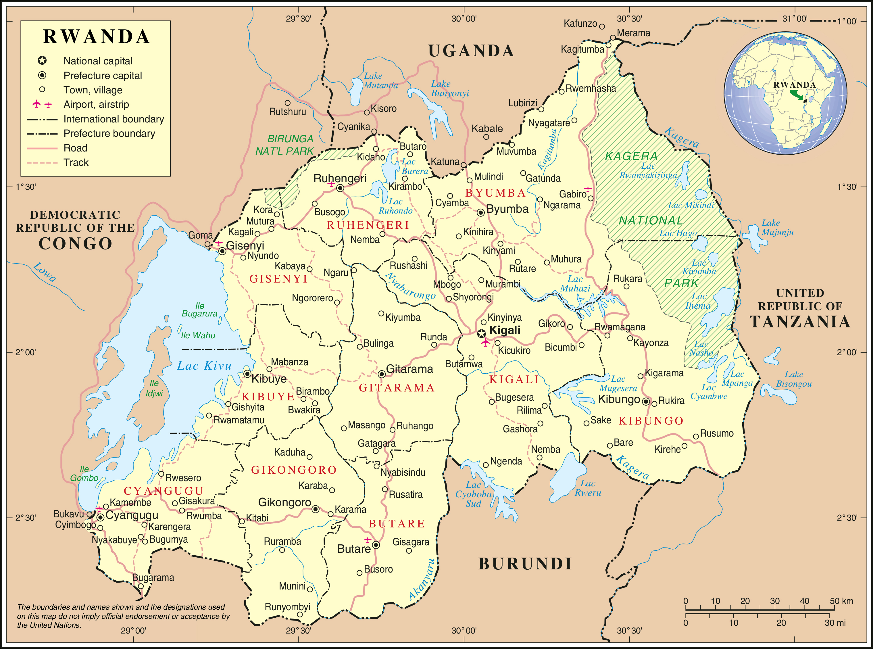 Large detailed political and administrative map of rwanda with all large detailed political and administrative map of rwanda with all cities roads and airports gumiabroncs Gallery
