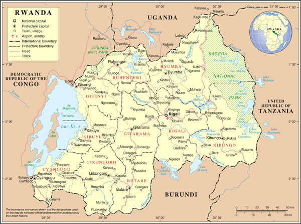Large detailed political and administrative map of Rwanda with all cities, roads and airports.