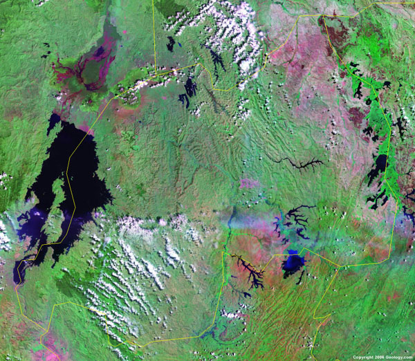 Large detailed satellite map of Rwanda. Rwanda large detailed satellite map.