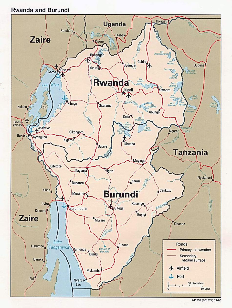 Political map of Rwanda and Burundi with cities Vidianicom Maps