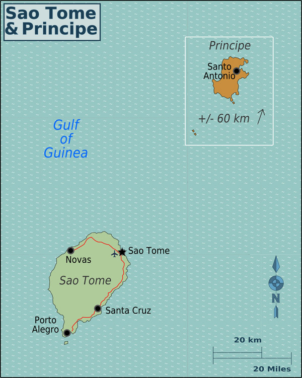 Detailed political map of Sao Tome and Principe. Sao Tome and Principe detailed political map.