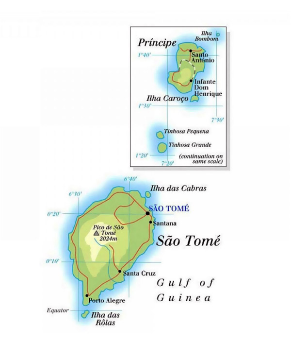 Detailed road and physical map of Sao Tome and Principe.