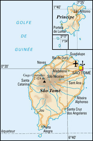 Detailed road map of Sao Tome and Principe. Sao Tome and Principe detailed road map.