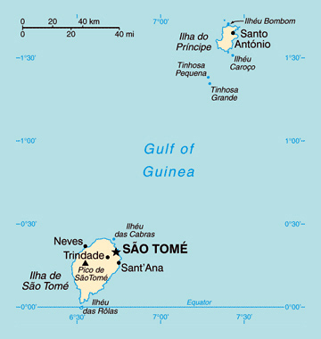 Map of Sao Tome and Principe. Sao Tome and Principe map.