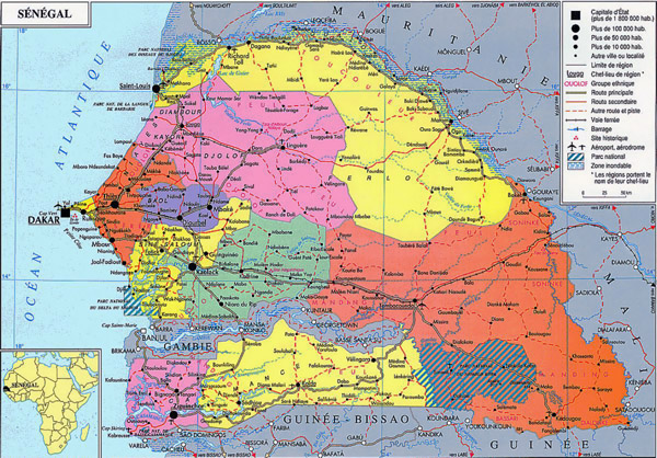 Detailed administrative map of Senegal. Senegal detailed administrative map.