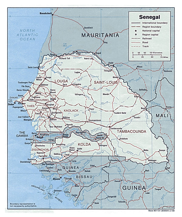 Detailed political map of Senegal. Senegal detailed political map.