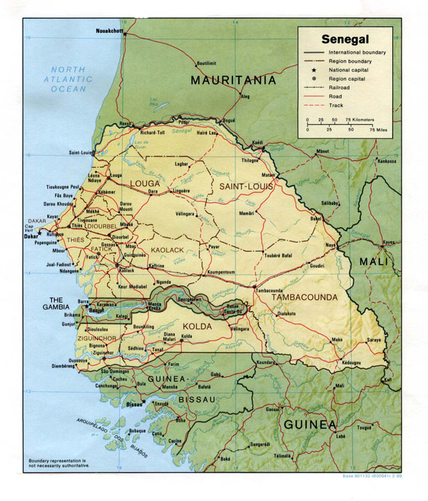 Detailed relief and political map of Senegal. Senegal detailed relief and political map.