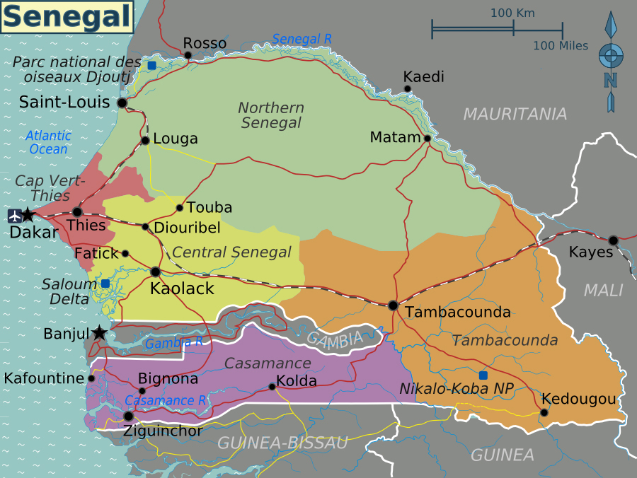 Political map of Senegal. Senegal political map | Vidiani ...