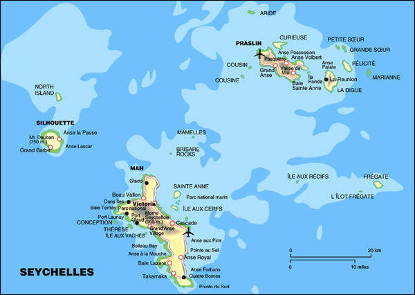 Detailed map of Seychelles. Seychelles detailed map.