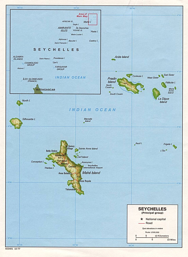 Detailed relief and political map of Seychelles. Seychelles detailed relief and political map.