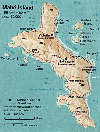 Detailed relief and road map of Mahe Island. Mahe Island detailed relief and road map.