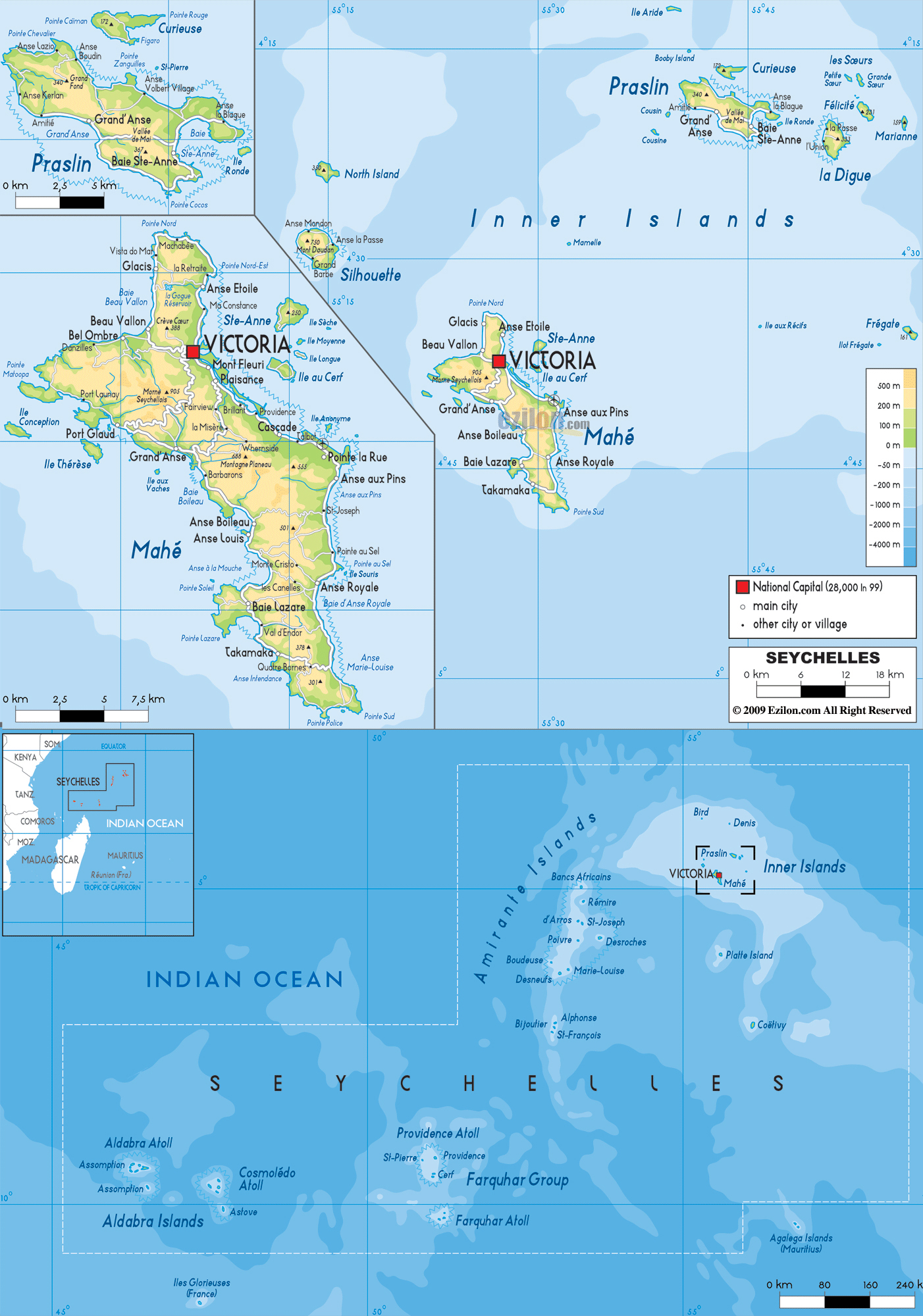 Large detailed physical map of Seychelles with all cities roads and