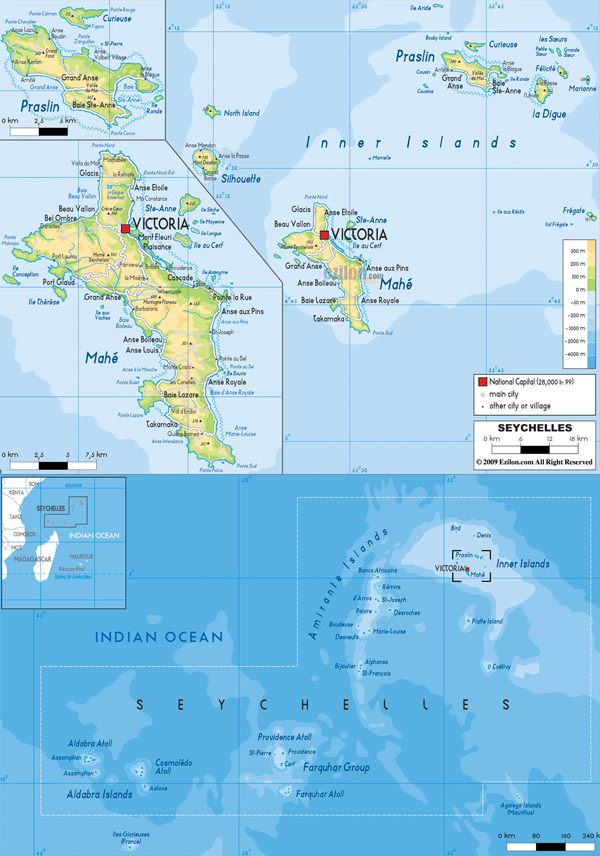 Large detailed physical map of Seychelles with all cities, roads and airports.