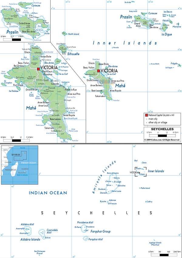 Large detailed political and road map of Seychelles with all cities and airports.