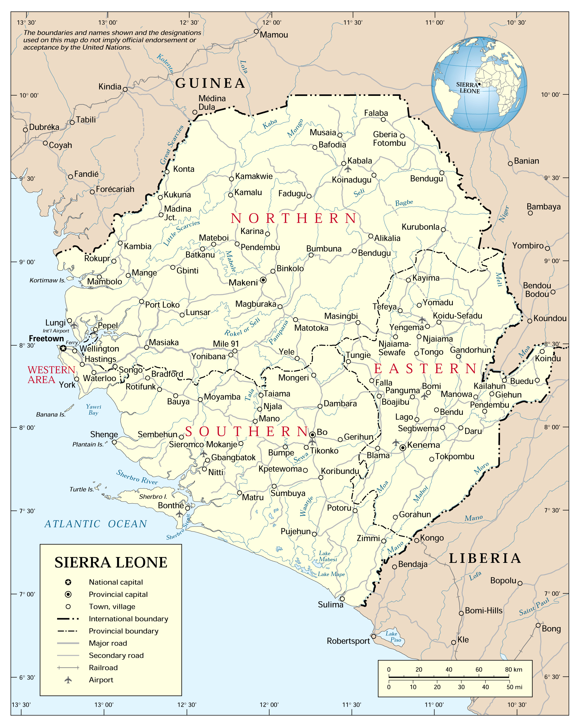 Administrative map of Sierra Leone with all cities Sierra Leone