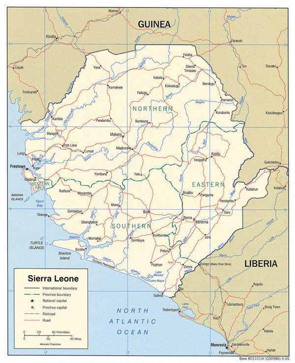 Detailed political and administrative map of Sierra Leone with all roads and cities.