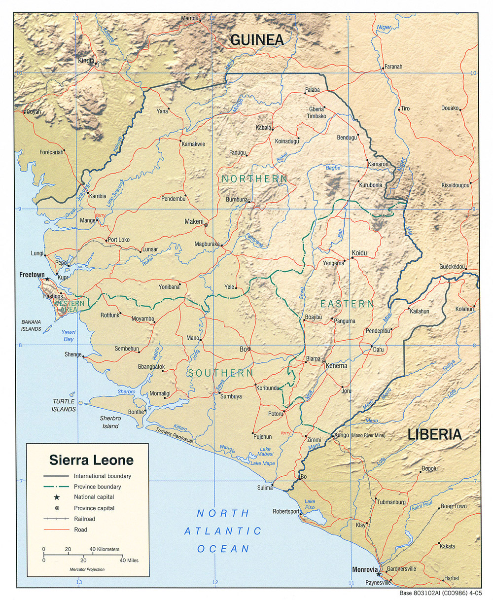 Detailed relief and administrative map of Sierra Leone Sierra Leone