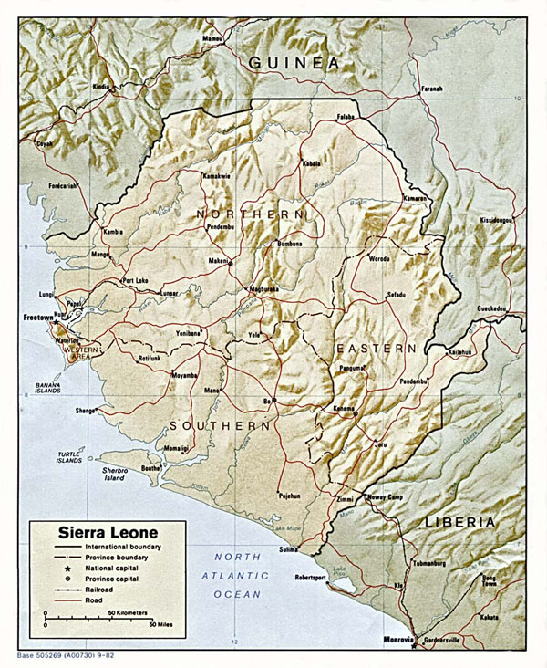 Detailed relief and political map of Sierra Leone.
