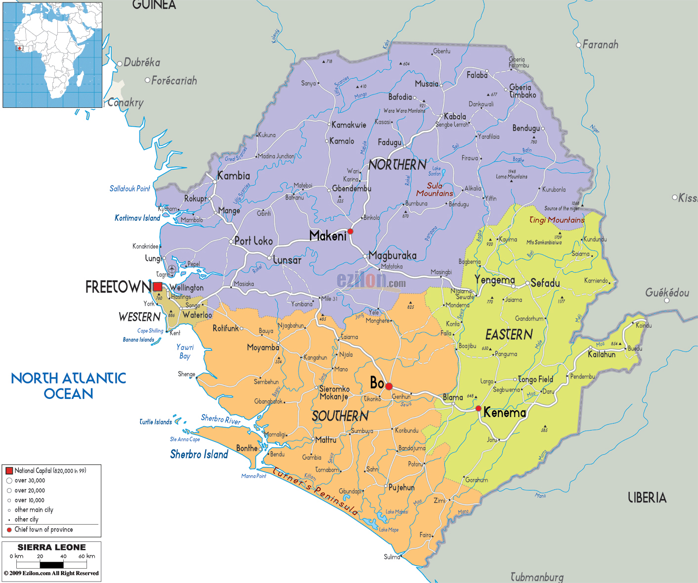Large detailed administrative map of Sierra Leone with all roads