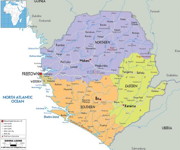 Large detailed administrative map of Sierra Leone with all roads, cities and airports.